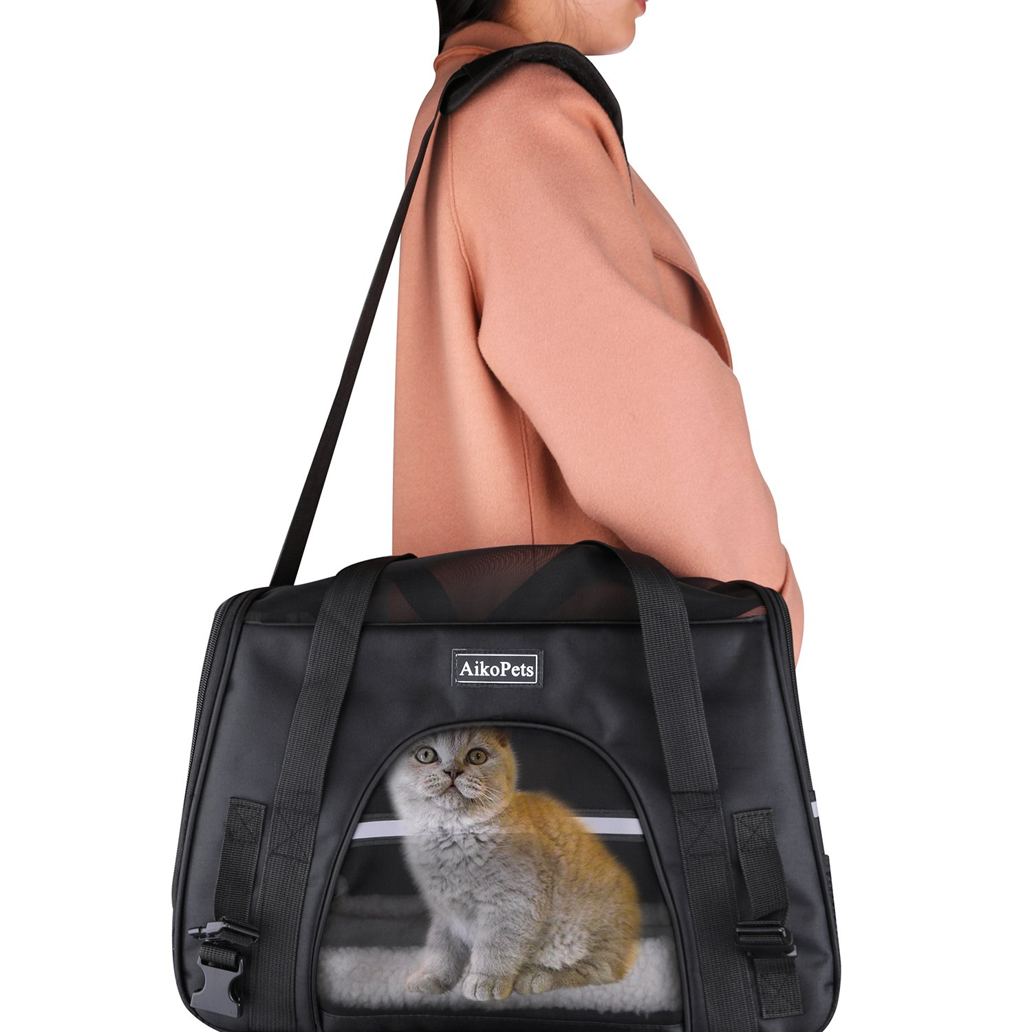 Cat Carrier, Airline Approved Pet Carrier for Medium Cat Travel Carrier Soft Sided Small Dog Carrier Fits Under Seat Small Animal Carrier Puppy Carrier with Fleece Bedding & Safety Lock, Medium Size by AikoPets (Image #6)