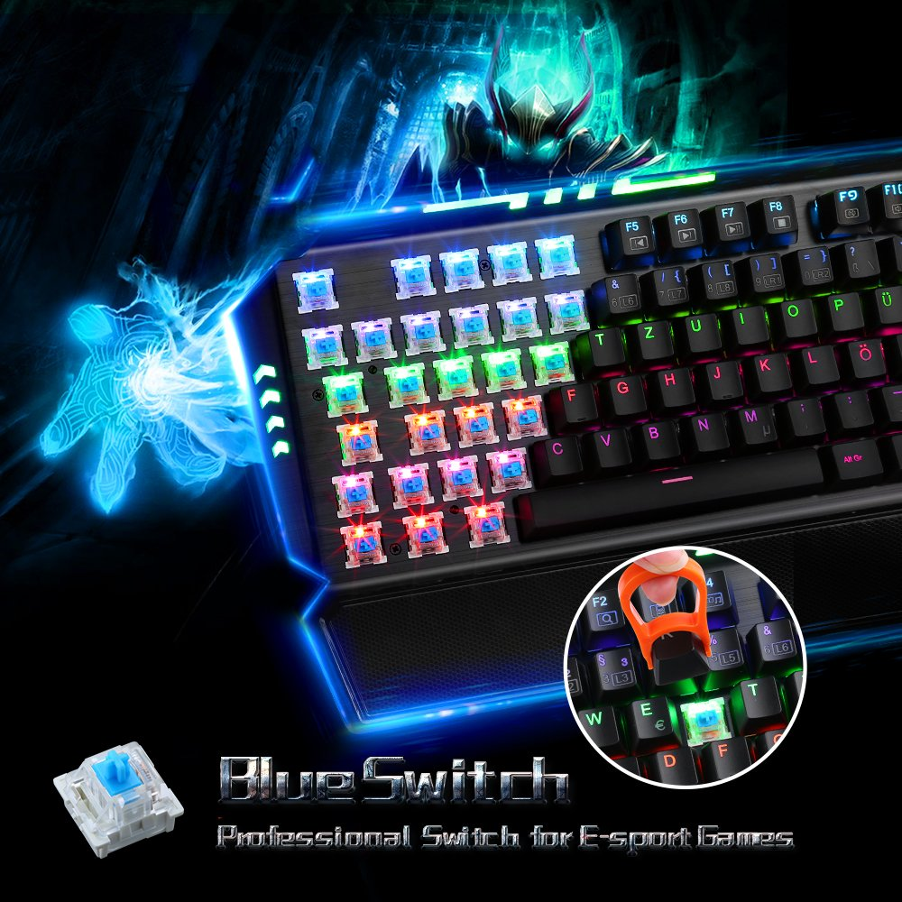Pictek 104 Keys Anti-ghosting Mechanical Gaming Keyboard, Backlit Gaming Keyboards Computer Keyboard with Blue Switch, Water-Resistant for Gamers