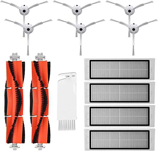 MIRTUX Kit de repuestos Xiaomi Mi Robot 1 y 2. Pack de Accesorios de Recambio para Robots aspiradora Xiaomi Mi Vacuum Roborock S50 S51 con Cepillo Lateral, Rodillo Central, filtros y Herramienta: