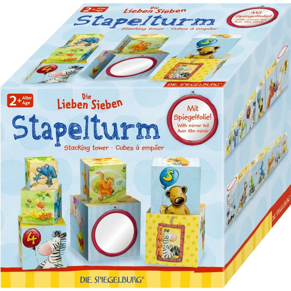 Spiegelburg 14696 Juego de Motrocidad Cubos Apilables de los Divertidos Animalitos Die Lieben Sieben