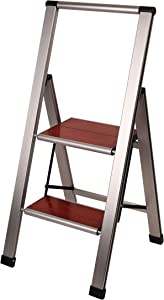 Aluminum Folding 2 Step Modern Ladder, Anti Slip, Sturdy, Lightweight and Slim Design, Heavy Duty, Aluminum/Mahogany