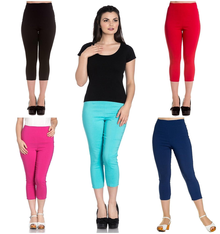 7b1fa4856b2 Hell Bunny Tina Capris Black Pants Pedal Pushers Rockabilly Retro Inspired  at Amazon Women s Clothing store