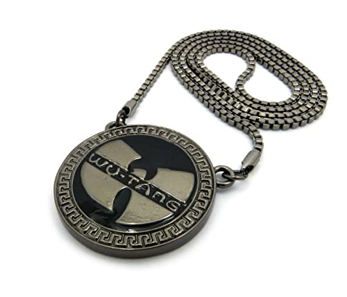 Mens wu tang clan round medallion hip hop pendant gold silver black mens wu tang clan round medallion hip hop pendant gold silver black 30quot box chain aloadofball Images