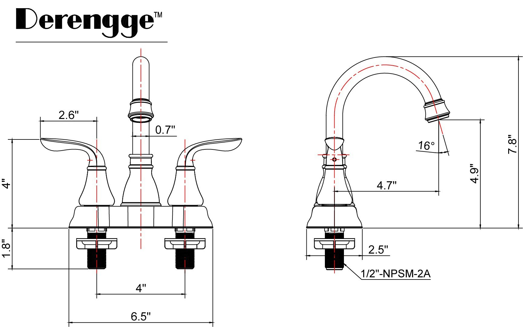Derengge 045-FS NB Two-Handle Oil Rubbed Bronze Bathroom Faucet with Pop up Drain,cUPC NSF AB1953 Lead Free
