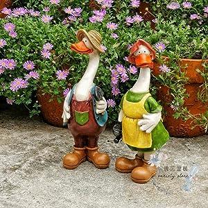 NYDZ Garden Ornaments Couple Duck Figurine Waterproof Resin Garden Statue for Yard Landscape Lawn Decoration Crafts Gift - 10 9 27cm