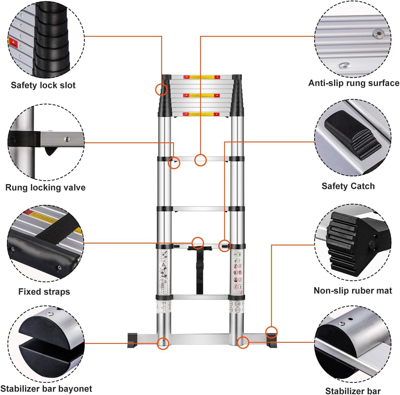 /Échelle T/élescopique 3.8M Aluminium /Échelle Escamotable avec Une Touche R/étractable Doux Conforme /à la Norme EN 131-6 Certificat de S/écurit/é Capacit/é Maximale 150Kg par Anordsem