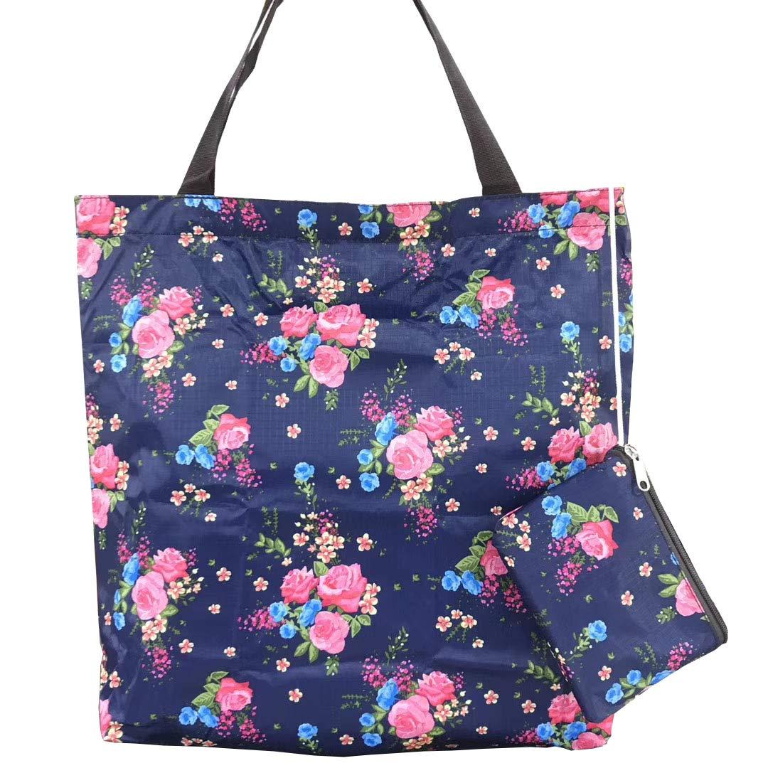 set di borse della spesa riutilizzabili lavabili borsa per la spesa pieghevole Naledi Blue borse per la spesa resistenti e leggere pieghevole in una tasca attaccata
