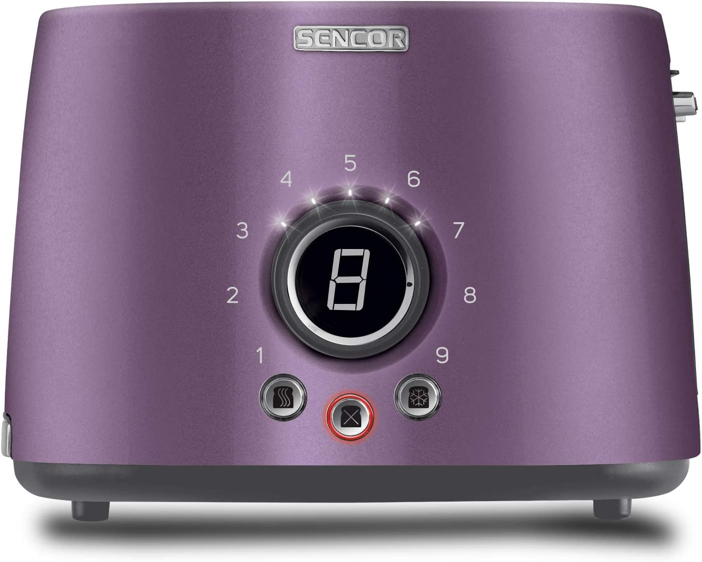 Sencor STS6053VT Premium Metallic 2-slot High Lift Toaster with Digital Button and Toaster Rack, Violet