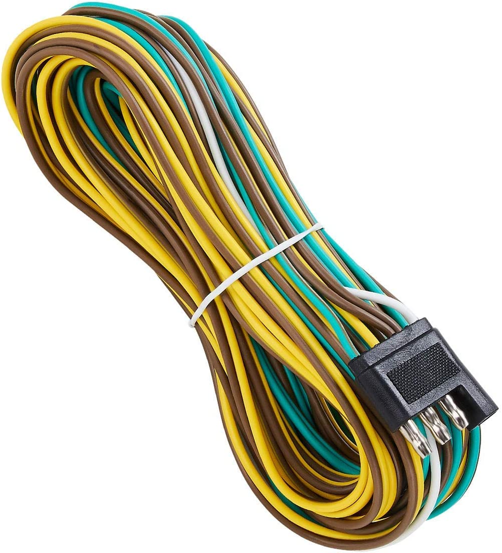 Amazon.com: SUZCO 25 Foot 4 Wire 4-Flat Trailer Light Wiring Harness  Extension Kit, 4-Way Plug 4 Pin Male & Female Extension Connector &  Wishbone-Style with 18 Gauge White Ground Wire with SAEAmazon.com