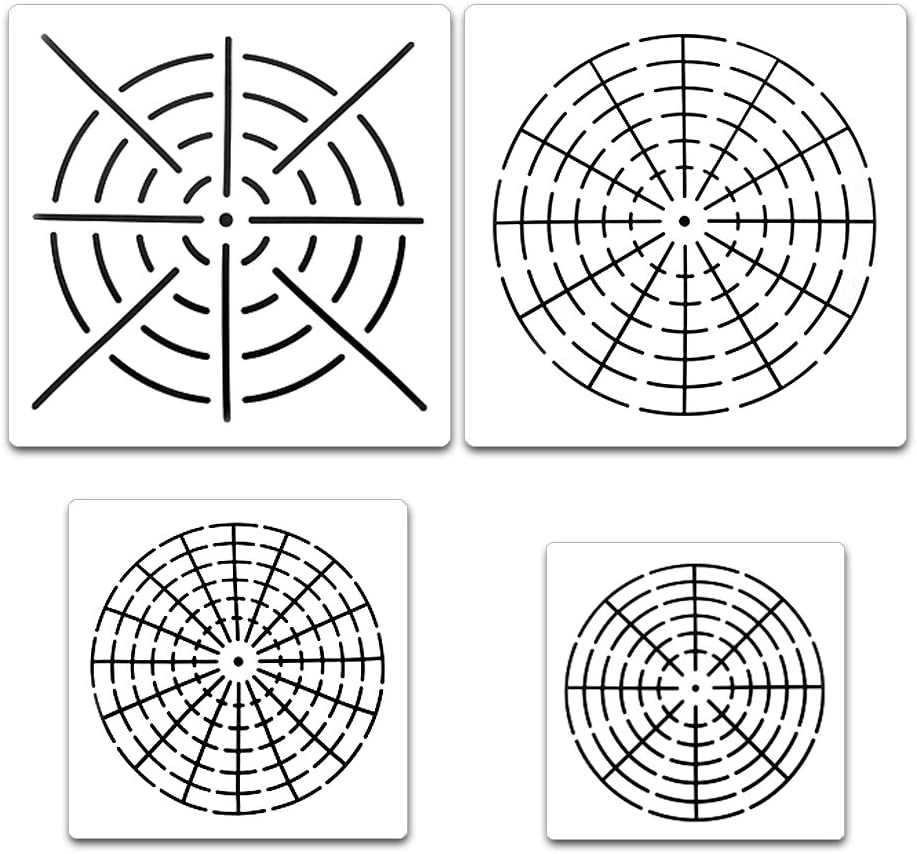HAN 6Pcs Mandala Dot Painting Stencils for Wood Stone Furniture Cards Fabric Airbrush and Walls Art