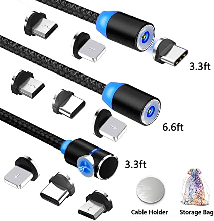 3 in 1 Magnetic Charging Cable,Nylon Braided Magnetic Charger with Led Light,Compatible with Micro USB,Type C and iProduct 4-Pack,1ft//3ft//6ft//6ft TOPK USB Magnetic Cable,