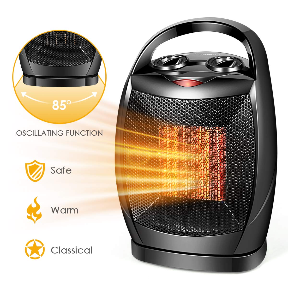 Ceramic Space Heater, 750W 1500W Portable Desk Small Quiet Fast Heating Fan, Overheat Tip-Over Protection, Energy Efficient Space Heater for Office Desktop and Home