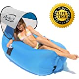 Air Sleeping Sofa Bed Couch Chair, Air Filled Balloon Bag Furniture, Portable Outdoor Inflatable Lounger Folding Waterproof for Camping, Beach, Park, Backyard with Carry Bag, Apriller (Blue)