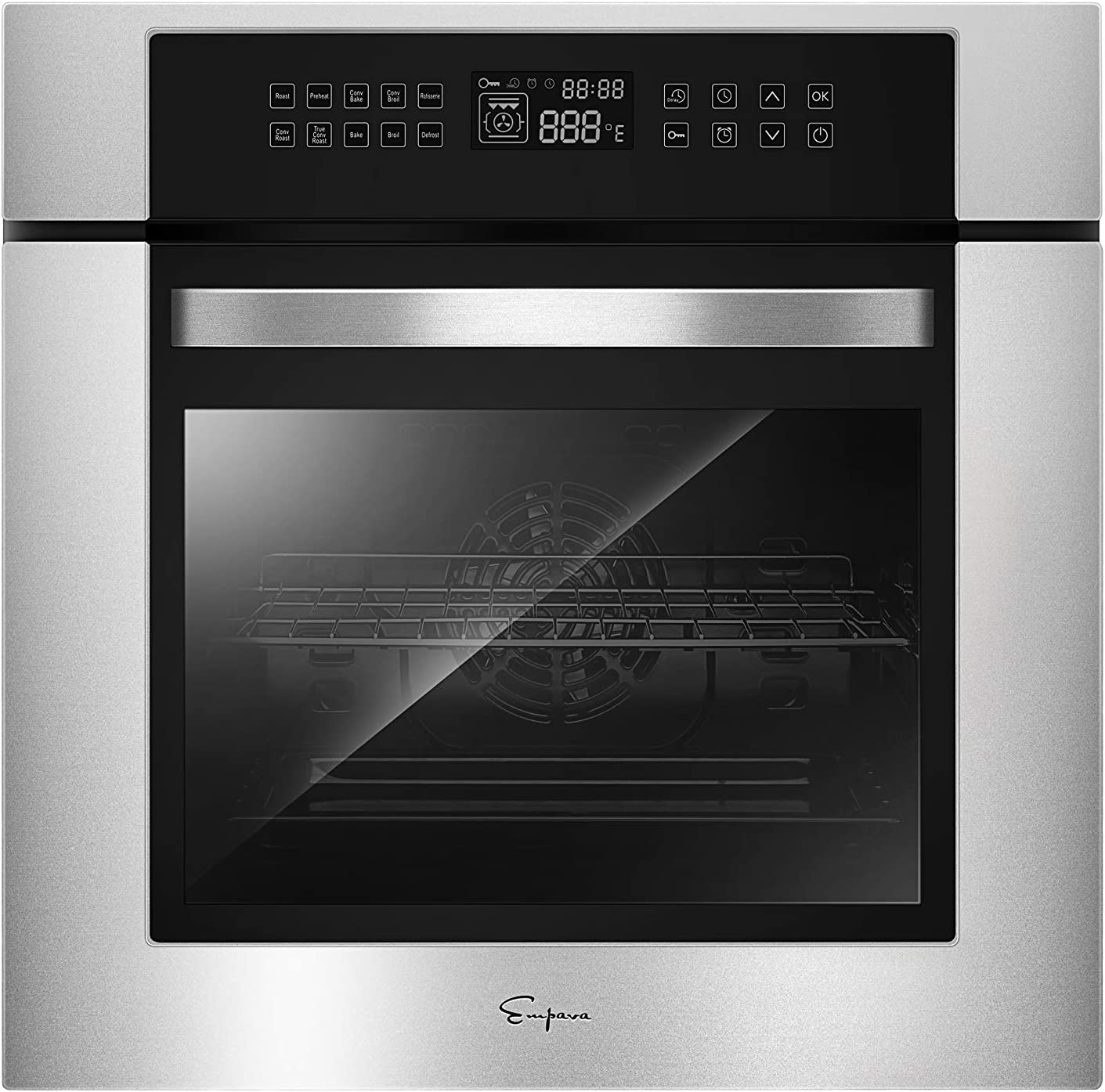 Empava 24 in. Electric Single Wall Oven Convection with 10 Cooking Functions Deluxe 360° ROTISSERIE with Sensitive Touch Control in Stainless Steel Model 2020, Black