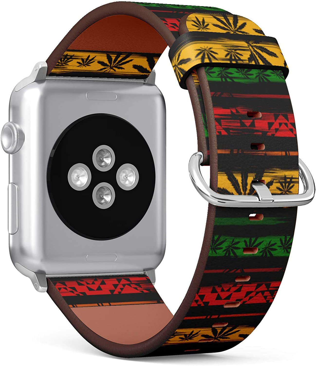 (Marijuana Cannabis Leaf on Rastafarian Pattern) Patterned Leather Wristband Strap for Apple Watch Series 4/3/2/1 gen,Replacement for iWatch 38mm / 40mm Bands