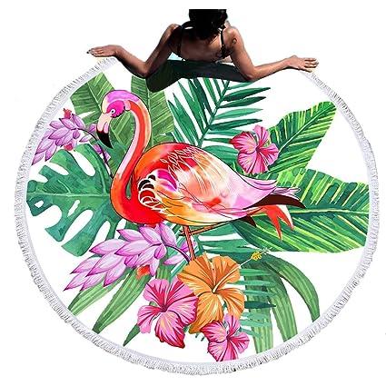 Stillshine Toalla de Playa Redonda, Patrón de Flor de Flamenco Gran Microfibra Manta de Playa