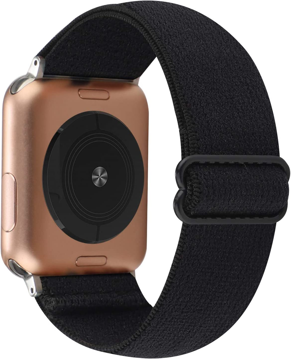 Adjustable Stretchy Solo Loop Nylon Strap Compatible with Apple Watch Elastic Band 38mm 40mm iWatch Series SE/6/5/4/3/2/1 (Black with Series 6/5/4 Clear Case, 38mm/40mm)