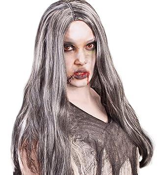Fasching Karneval Zombie Zillah Perucke Grau Langhaar Halloween