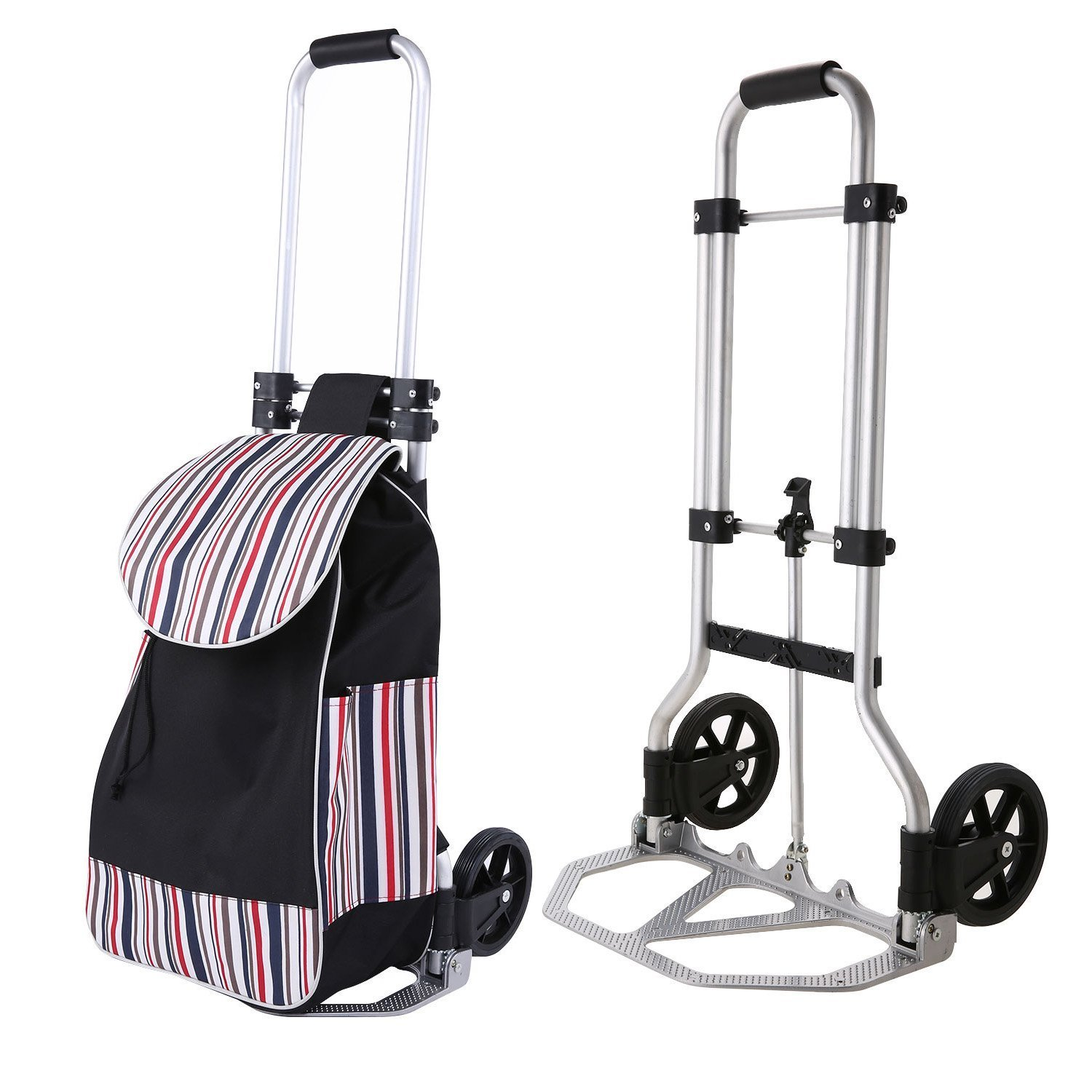 Moroly 2 in 1 Folding Shopping Cart 2-Wheeled Utility Trolley & Hand Truck Dolly for Grocery Laundry - Aluminum Frame Transport Up to 132lbs