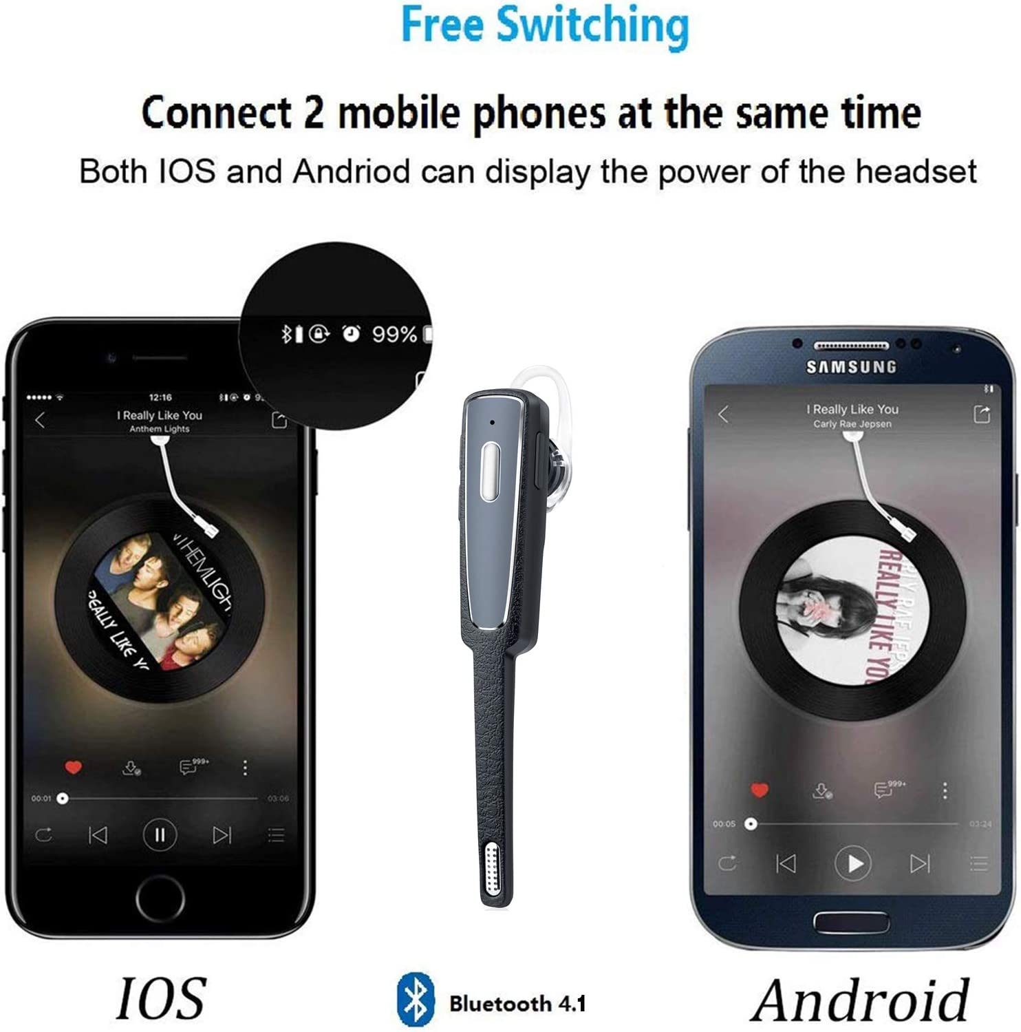 Bluetooth Headset Businessman,Support Android/iPhone Cell Phones ...