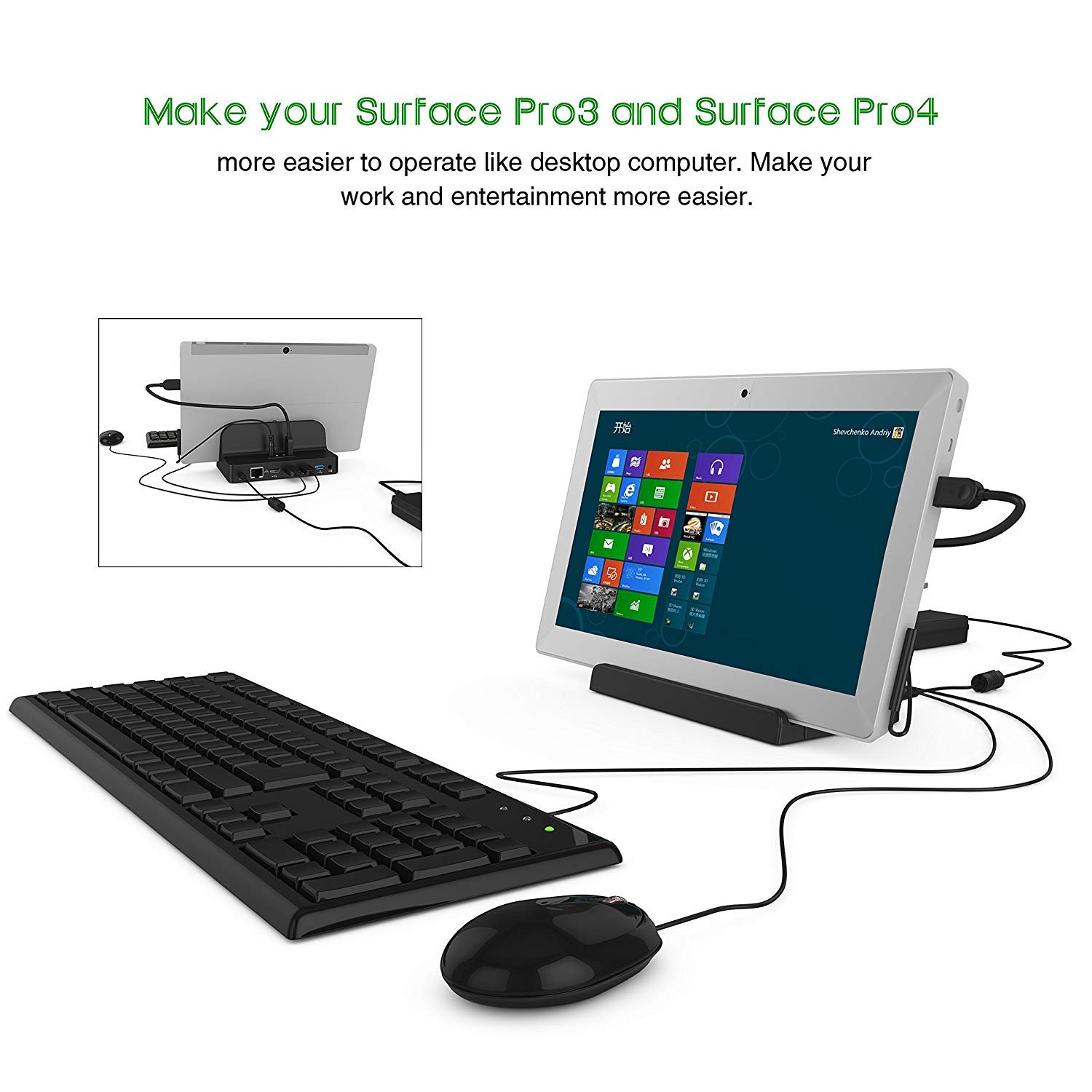 Besmon Charger Smart Stand Docking Station for Microsoft Surface Pro3//Pro4 Microsoft Surface Dock
