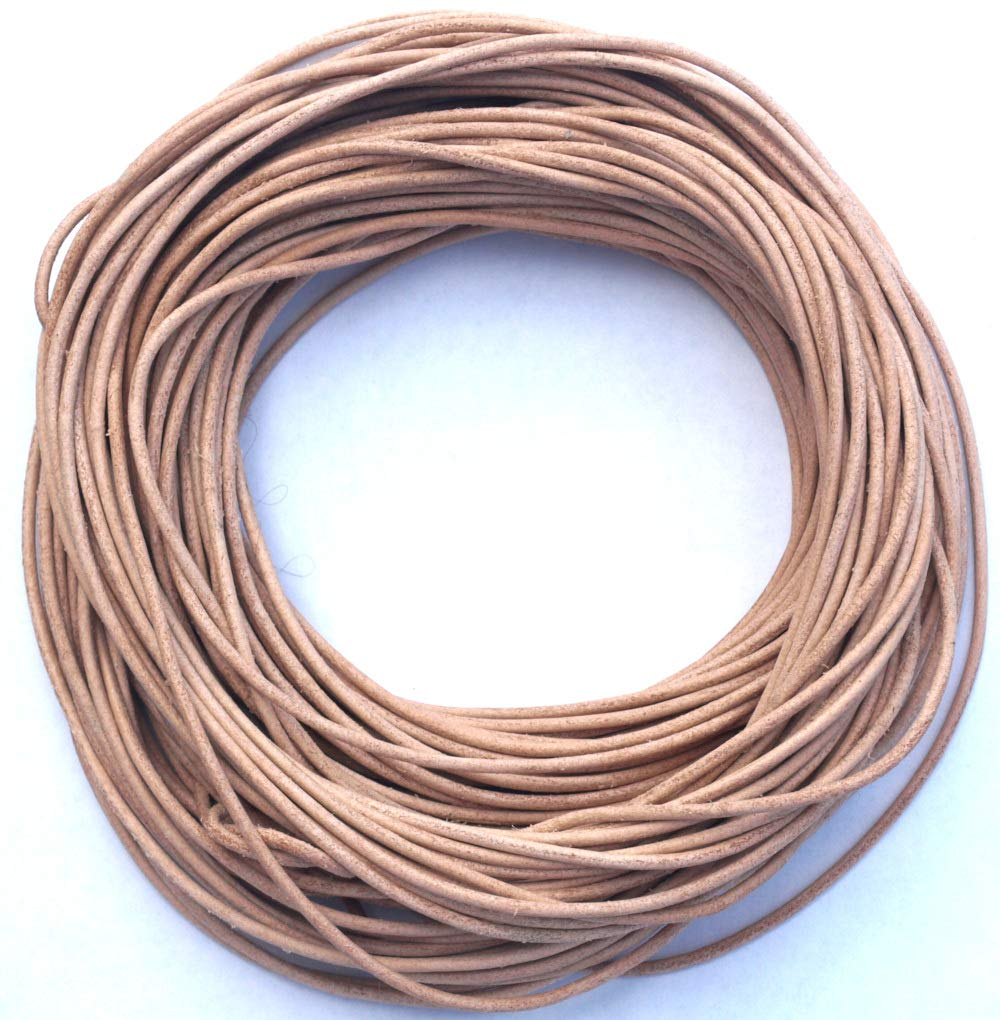 1.8 mm Rawhide Natural Leather Cord, Natural untreated Leather Cord, 25 Meter Hank (26 Yards)