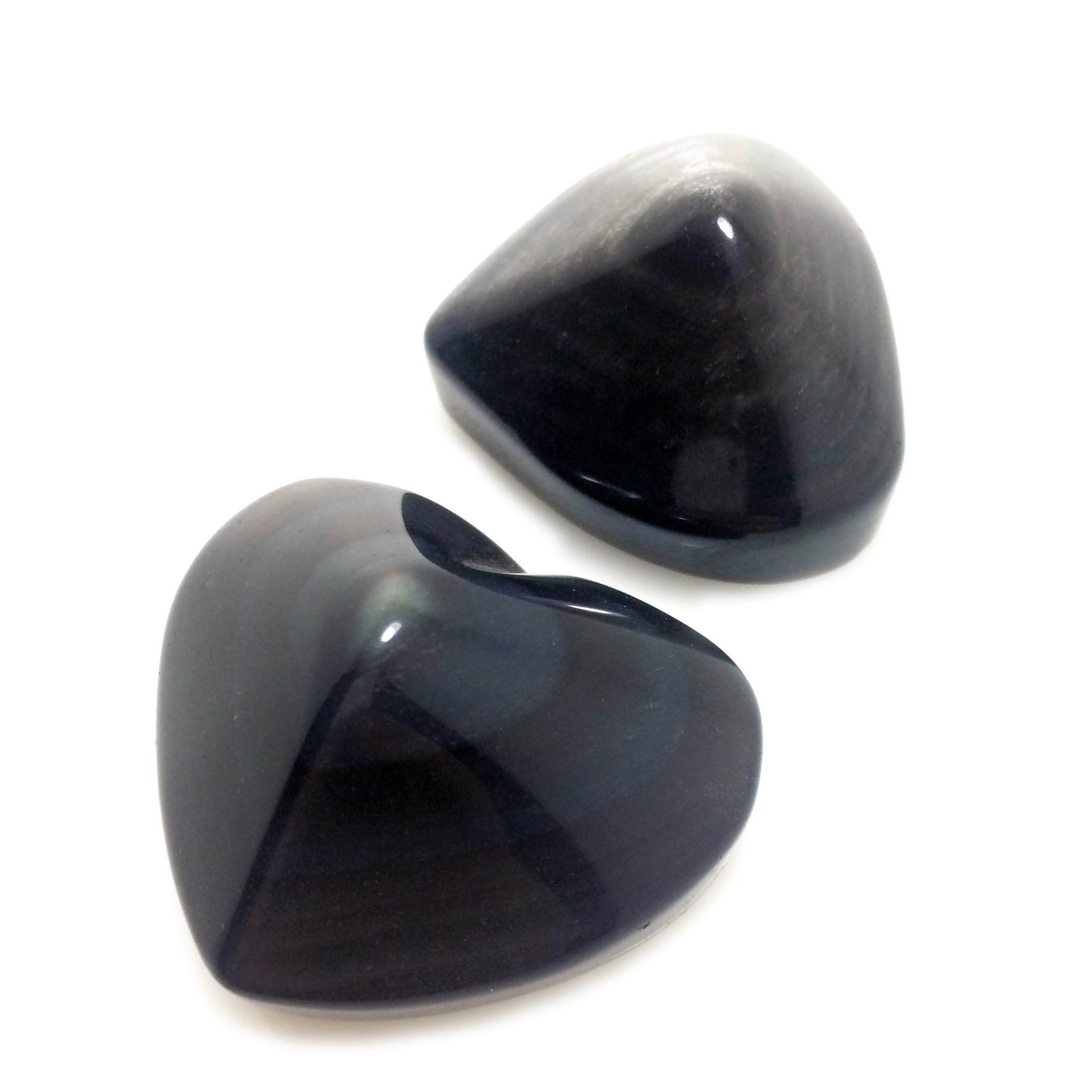 Polar Jade Pair of Crystal Hearts of Gem Quality Rainbow Obsidian and Silver Sheen Obsidian for Healing Meditation Chakra Balancing Home Decoration Spa Massage