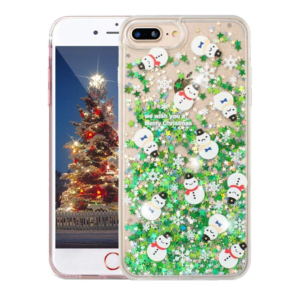 COTDINFORCA iPhone 8 Plus Christmas Case, Merry Christmas Tree Pattern Glitter Liquid Bling Sparkle Case Pretty Cute for Girls Children Gifts for Apple iPhone 7 Plus. Liquid - Small Santas