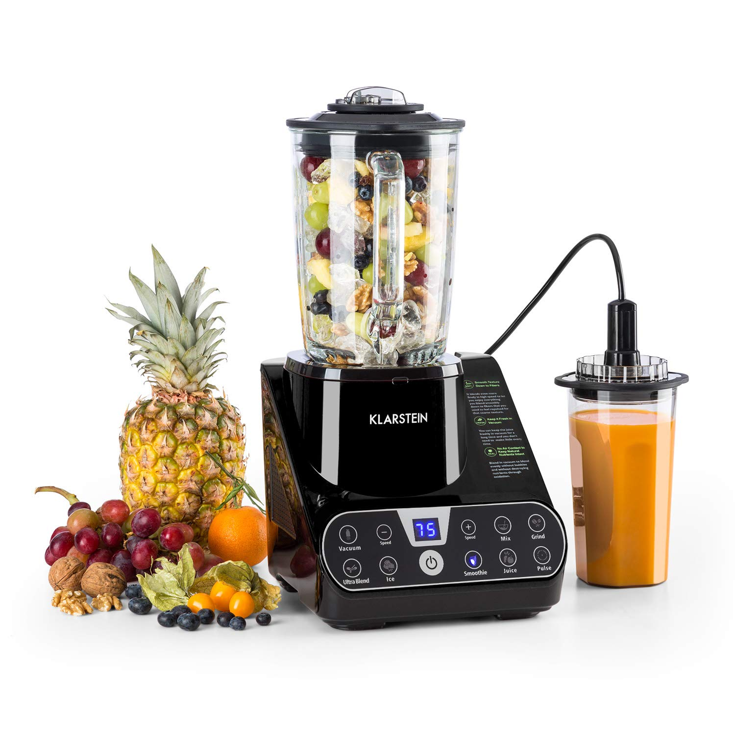Klarstein Airakles Vacuum Blender • Blender • 1300W • 26000 RPM • 1.5 Liter Glass Jug• Vacuum Function • 7 Programs • 6 Power Levels • Pulse • Stainless Steel Mechanism • 6 Blades • Black
