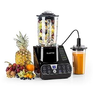 Klarstein Airakles Vacuum Blender • Blender • 1300W • 26000 RPM • 1.5 Liter Glass Jug• Vacuum Function • 7 Programs • 6 Power Levels • Pulse • Stainless Steel Mechanism • 6 Blades • Black