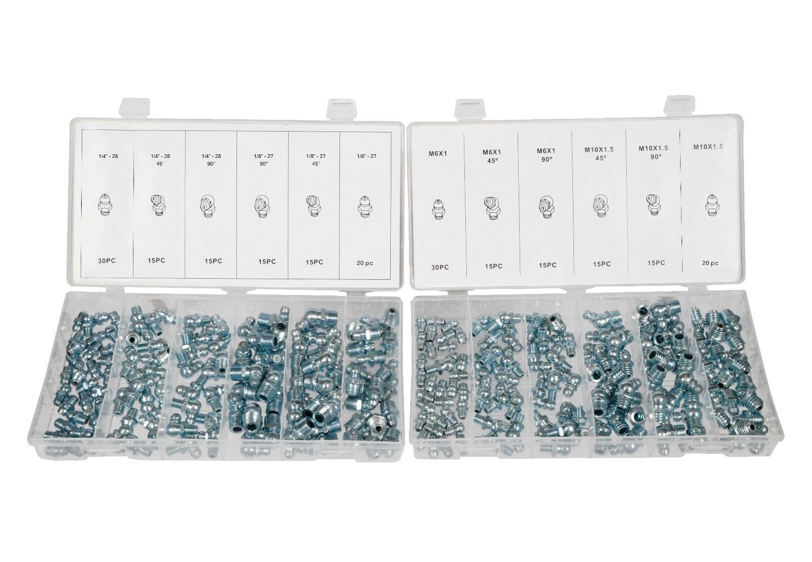 SAE & MM Hydraulic Grease Fitting Kit, 220 Piece Straight and Angled | 1/4'', 1/8''