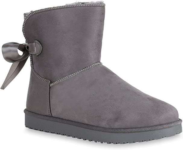 892787 Warm Gefütterte Damen Boots Winter Stiefeletten Schlupfstiefel Trendy