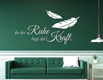 tjapalo® w-pkm376 Wandtattoo Schlafzimmer Wohnzimmer Wandspruch Sprüche in  der Ruhe liegt die Kraft - in vielen Farben (B58 x H30 cm)
