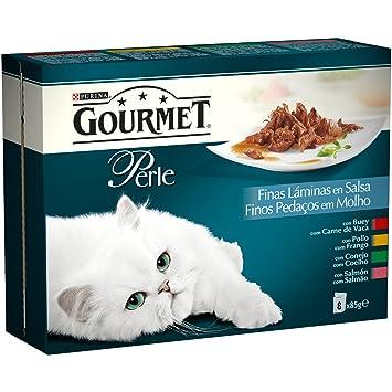 Gourmet - Perle Alimento para gatos Finas Laminas en Salsa - Paquete de 8 x 85 g - Total: 680 g