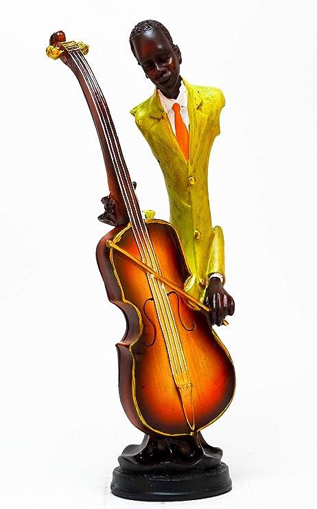 Hauteur 44 cm Statuette Musicien Jazzman Joueur de Trompette GEMME Jazz Musique Sculpture-Trompette,Figurine Jazzman Joueur de Trompette