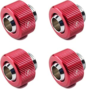 """Bitspower Touchaqua G1/4"""" Compression Fitting for 3/8"""" ID, 1/2"""" OD Soft Tubing, Red, 4-pack"""
