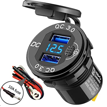 Quick Charge 3.0 Dual USB Charger Socket with Voltmeter and Switch, SunnyTrip 36W 6A Waterproof Power Outlet Cigarette Lighter Replacement for 12V/24V Car Boat Motorcycle Truck Golf Cart and More