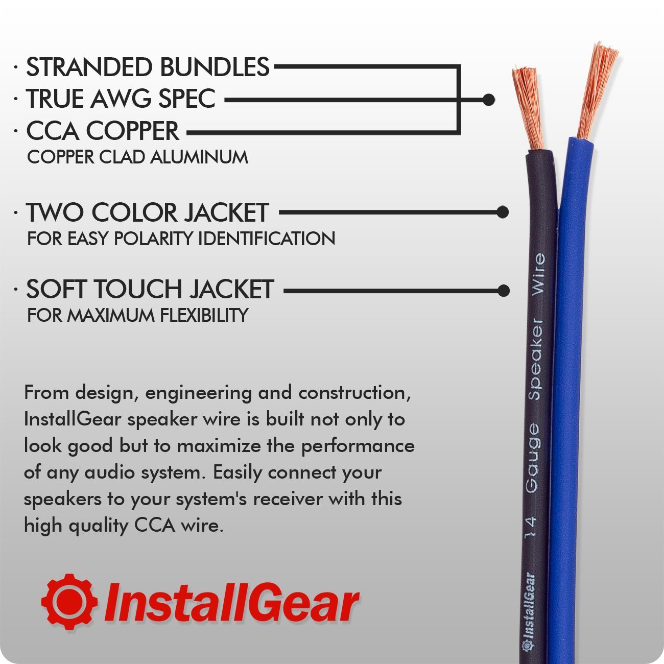 InstallGear 14 Gauge AWG 100ft Speaker Wire Cable with 12 Banana ...