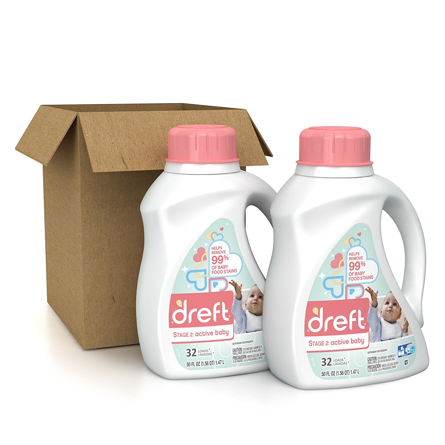 Amazon: Dreft Stage 2: Active Hypoallergenic Liquid Baby Laundry  Detergent (he), 50 Ounces (32 Loads), 2 Count: Health & Personal Care