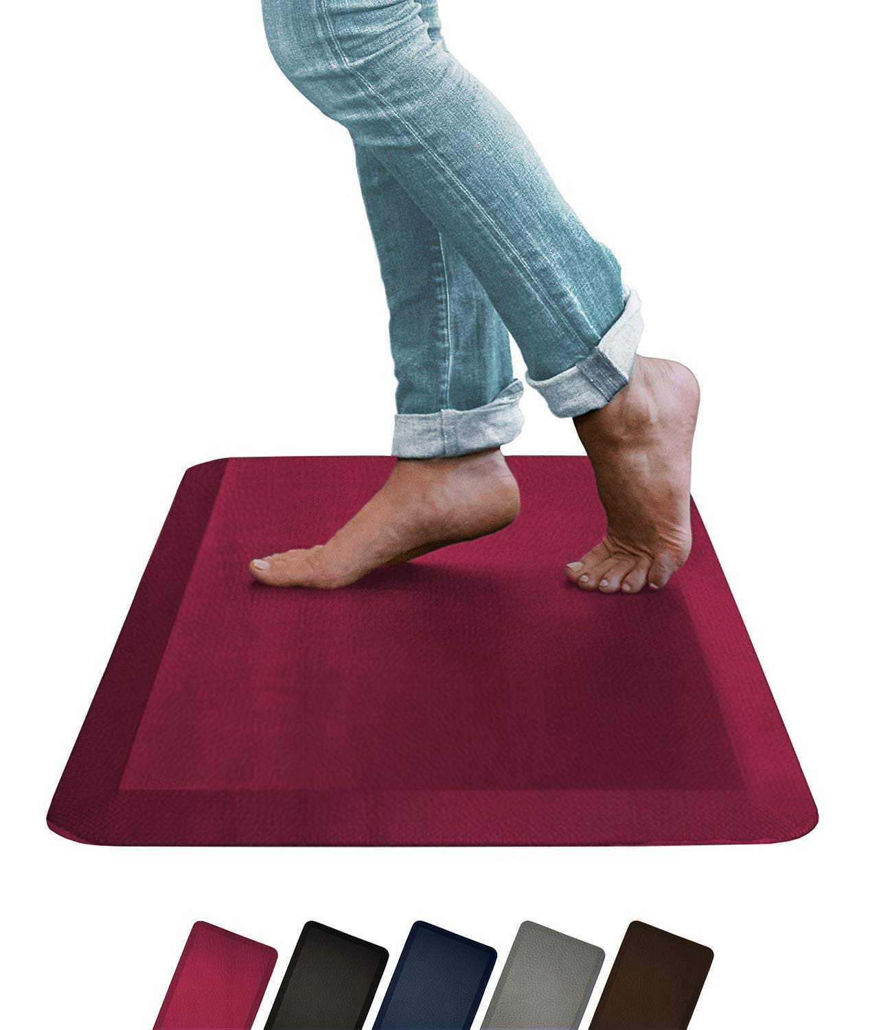 Oasis by Sky Mats, Leather Grain Comfort Anti Fatigue Mat, 5 Colors and 3 Sizes, Perfect for Kitchens and Standing Desks (20x32x3/4-Inch, Black)