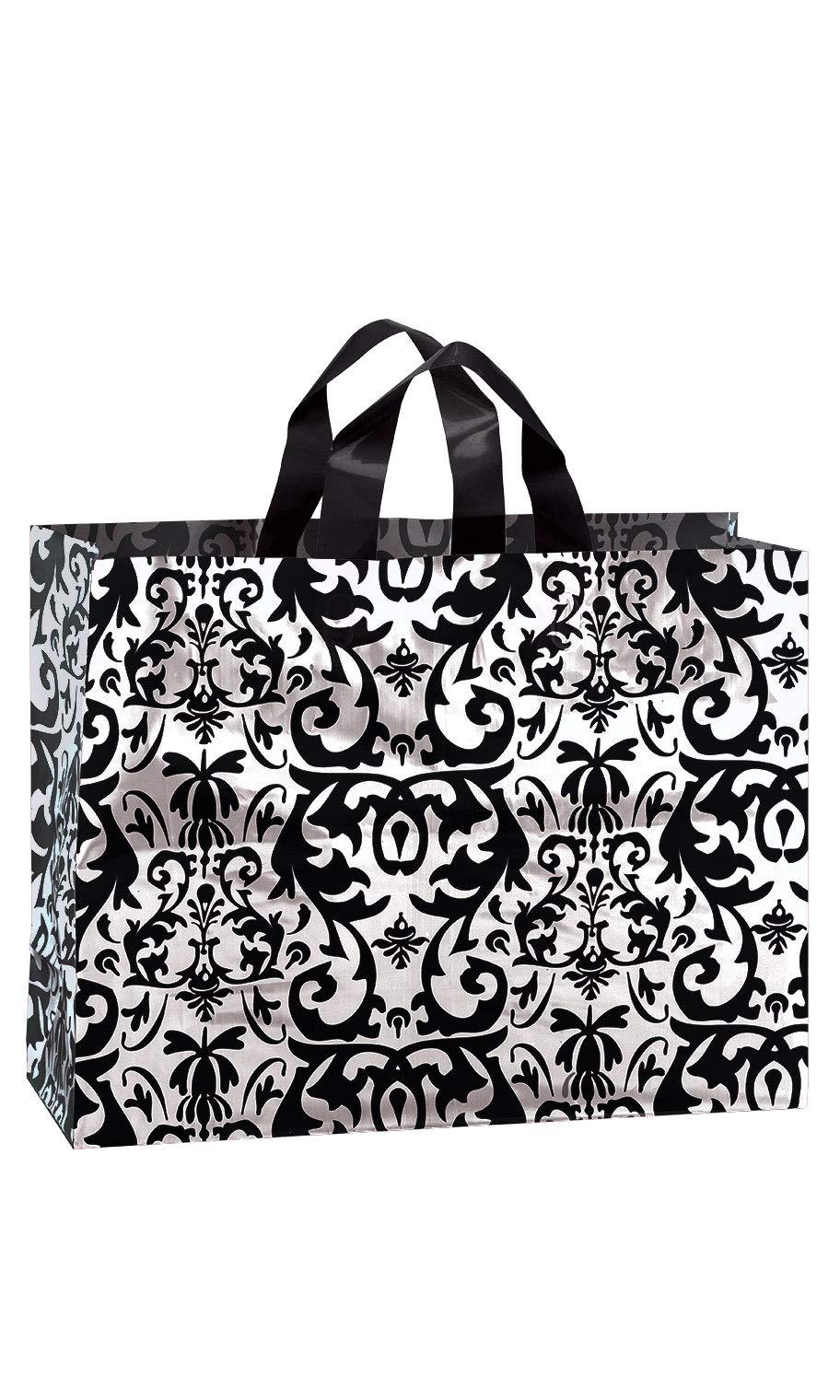 SSWBasics Large Black Damask Frosted Plastic Shopping Bags - 16'' x 6'' x 12'' - Case of 100