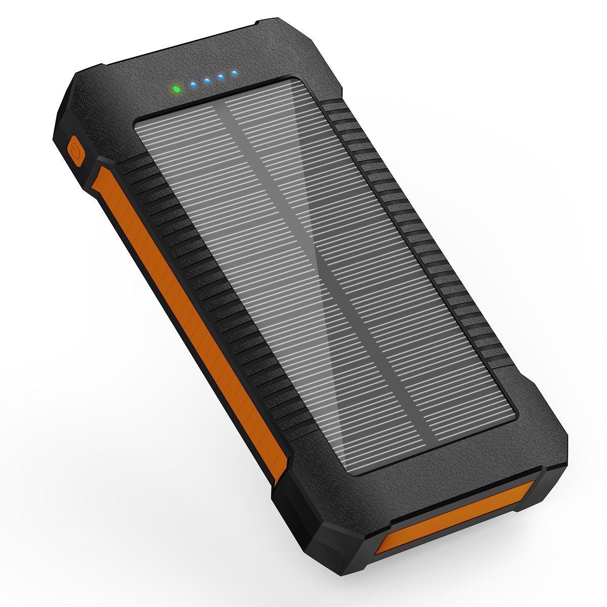 Solar Ladegerät Power Bank 22000mAh, tragbares Solar Handy Ladegerät Solar Panel externer Akku Ladegerät mit Dual USB, der U89, LED Taschenlampe, IPX7Wasserdicht, stoßfest und staubdicht, für Handy, iPhone, Samsung Galaxy, iPad, Kamera, B