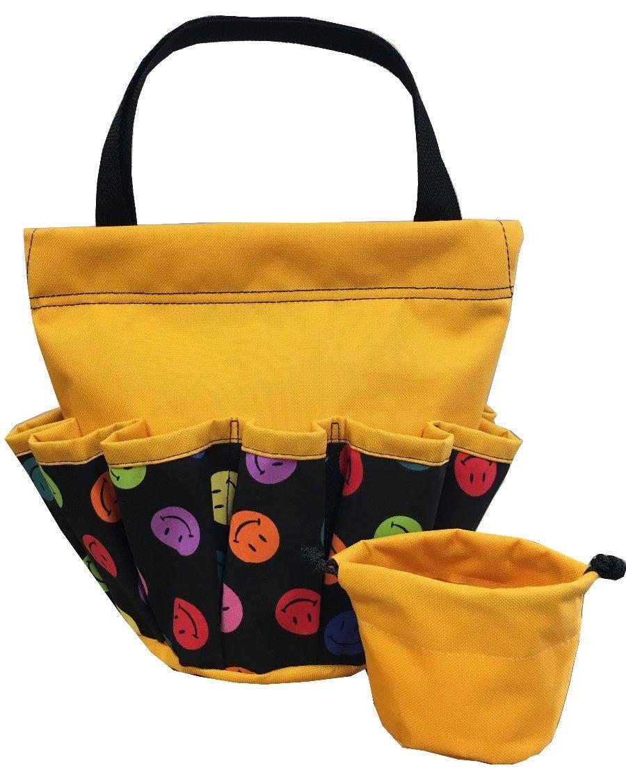 10 Pocket Smiley Face Yellow Velcro Bingo Bag