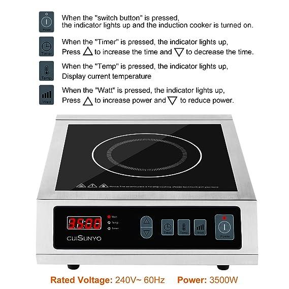Amazon.com: CUISUNYO Cocina de inducción comercial, 3500 W ...