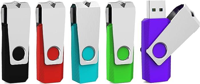 Aiibe 5 Pack 32GB USB Flash Drive USB 3.0 Thumb Drive USB Drives 32 GB USB Stick (5 Mixed Colors: Black Red Cyan Green Purple)