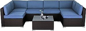 SOLAURA 7-Piece Outdoor Furniture Set, Black Brown Wicker Furniture Modular Sectional Sofa Set with YKK Zipper &Coffee Table - Denim Blue