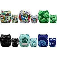 ALVABABY Pocket Cloth Diapers Reusable Washable Adjustable for Baby Boys and Girls ,6 Pack with 12 Inserts 6DM32-AU