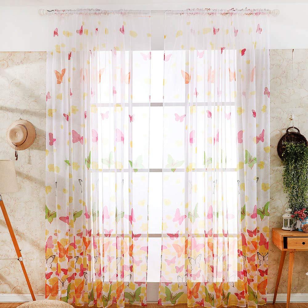 Godagoda Curtain Large Butterfly Print Screens 39.37''×78.74″