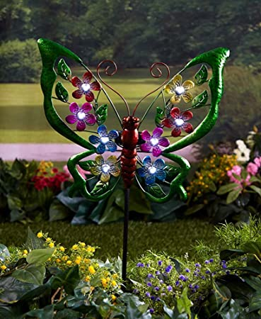 The Lakeside Collection Colorful Solar Garden Stakes  Butterfly