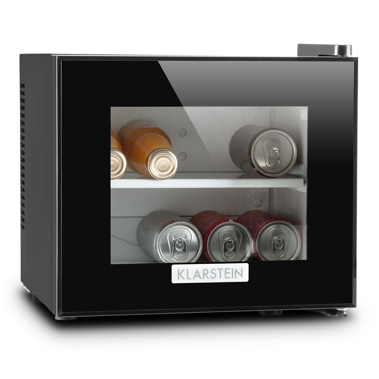 Klarstein Frosty Mini frigo Réfrigérateur compact écolo 10 L 65 W Classe B (température 12-18 °C, porte en verre à isolation double, 30 dB, éclairage intérieur) - noir HEA-Frosty